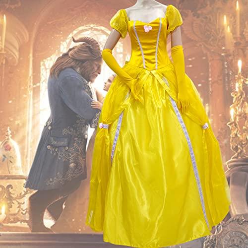 WRNM Traje De La Princesa De Las Mujeres Vestido De Fiesta De Halloween De Halloween Belleza Adulta Y La Bestia Belle Snow Blanco Disfraz De Bola,Yellow Clothing,XL