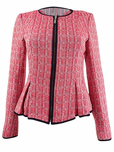 Tommy Hilfiger Womens Tweed Suit Separate Peplum Jacket Red 2