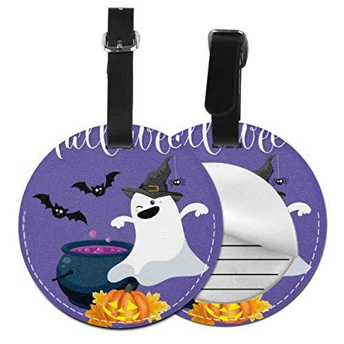Slaytio - Fondo de Halloween Personalizable con Etiqueta Redonda para Maleta de Halloween, Correa de PVC, Negro, 4 PCS