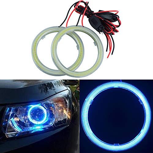 TIDO - 2 anillos de halo de ojos de ángel de 80 mm para faros delanteros con anillo circular de luz COB y cubierta de plástico de 12 V