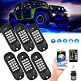KOSPET RGB LED Rock Lights, 90 LEDs Highlighted Underglow Light with APP/RF Control, Multicolor Neon LED Light Kit with Waterproof Timing Music Sync for Off Road Jeep Truck SUV UTV ATV Boat, 6 Pods