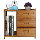 Nightstand with 3 Drawers, Modern Bamboo Bedside Table Wooden Accent Sofa Side End Table Storage Cabinet for Home Living Room Bedroom Office Small Spaces