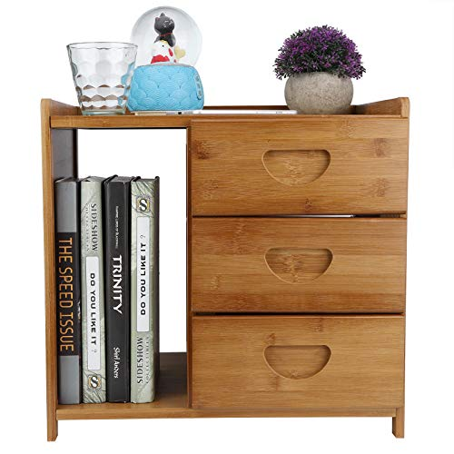 Zerone Nachttisch, Mini Bambus Beistelltisch Nachtschrank mit 3 Schubladen für Wohnzimmer Schlafzimmer, 42 x 31 x 40 cm (Braun)