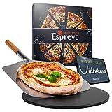 Esprevo Pizzastein Gasgrill & Backofen, rund Ø33cm | Pizzastein Set mit Beschichtung aus glasiertem Cordierit inkl. Metall Pizzaschieber & Videokurs zum Grillen & Backen Italienischer Pizza