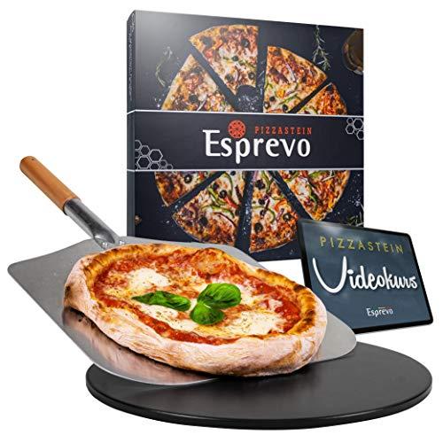 Esprevo Pizzastein rund 33cm für Gasgrill, Grill & Backofen inkl. Pizzaschieber | Set mit Videokurs zum Backen Italienischer Pizza | Schwarz aus glasiertem Cordierit