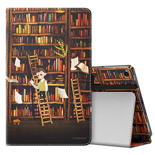 MoKo Hülle für Das Neue Amazon Fire HD 10 Tablet (9. Gen 2019 & 7. Gen 2017 Model), Schutzhülle Smart Cover Case Translucent Rückseit für Fire HD 10,1 Zoll Tablette - Bücherregal