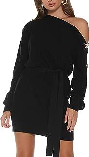 Simplee Apparel Women's Off Shoulder Long Sleeve Bodycon Mini Knit Sweater Dress