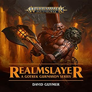 Realmslayer     Warhammer Age of Sigmar              By:                                                                                                                                 David Guymer                               Narrated by:                                                                                                                                 Jonathan Keeble,                                                                                        Brian Blessed,                                                                                        David Seddon,                   and others                 Length: 5 hrs and 28 mins     288 ratings     Overall 4.6