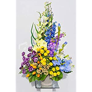 Silk Blooms Ltd Artificial Multi Coloured Tulip, Anemone and Summer Flower Vase Display w/Leaves