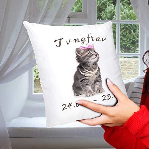 Geschenk Kissen Katze mit Sternzeichen Jungfrau, lustiges Geschenk für Freundin Frau, Dekokissen Zierkissen inkl. Füllung 40x40 cm Weiß Grau