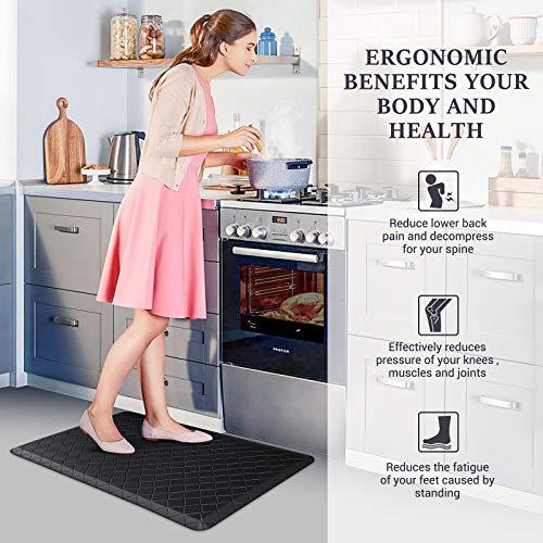 HappyTrends Kitchen Mat Cushioned Anti-Fatigue Kitchen Rug,17.3