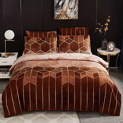 Sisher - Juego de funda de edredón con estampado geométrico, microfibra cepillada, color caqui, estilo nórdico, suave, tamaño king, boho, calidad de hotel, 220 x 240 cm