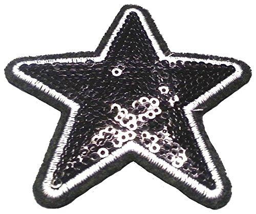 b2see Strass Glitzer Sterne Aufnäher Aufbügler Bügelbilder Sticker Iron on Patches Applikation mit Pailletten für Textilien Kleider Frauen zum aufbügeln schwarzer Stern 8 cm
