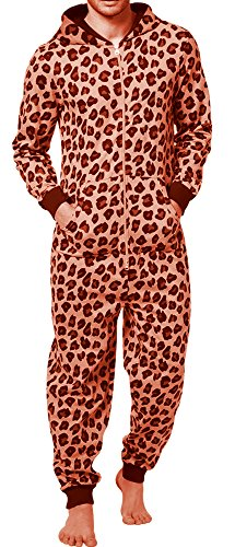 SKYLINEWEARS Men's Fashion Onesie Printed Playsuit Jumpsuit Overall-Leopard-L