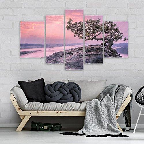 FORWALL AMF11749_GTS4A - Cuadro de cristal con diseño de árbol en las rocas, Vidrio, Violeta, rosa., GS4A (170cm. x 100 (1x30x100, 2x30x80, 2x40x60))