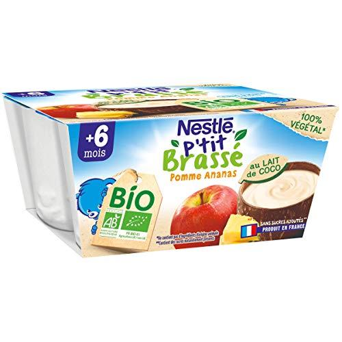 Nestlé Bébé P'tit Brassé Bio Végétal Lait de Coco Pomme Ananas - 4x 90g - dès 6 mois