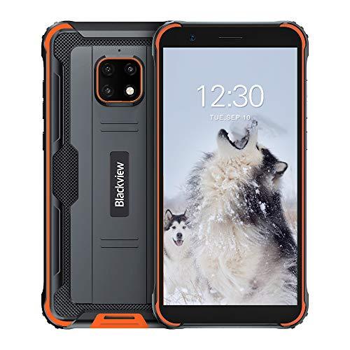 Blackview BV4900 Pro Günstige Outdoor Smartphone ohne Vertrag (4GB RAM, 64GB Speicher, Android 10, 13MP+5MP Kamera, 5580mAh, 5.7 Zoll HD+ Display, Dual SIM, NFC, OTG) IP68 Wasserdicht Handy Orange