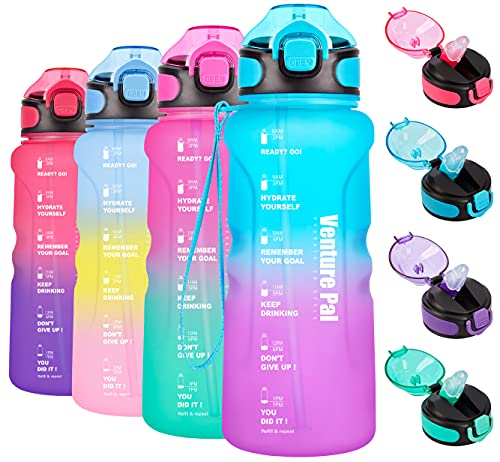Venture Pal 32oz Motivational Water Bottle with Time Marker & Straw, Leakproof BPA Free Water Jug to Ensure You Drink Enough Water Throughout The Day for Outdoor Enthusiasts-Green/Purple Gradient