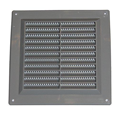 Lüftungsgitter - Abluftgitter aus Kunststoff mit Insektenschutz: 150 x 150 mm - grau Gitter , vr1515b