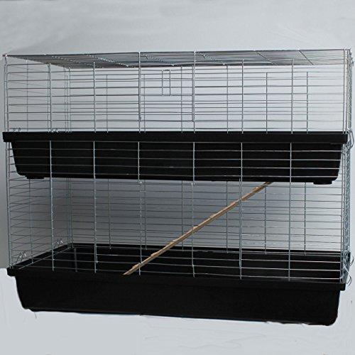 Heimtiercenter XXL 1,20 m schwarz doppel Hasenkäfig Meerschweinchenkäfig Kaninchen- und Meerschweinchenheim
