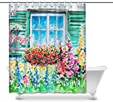 Cortina de baño Watercolor Flowering Garden with Window View House Decor Shower Curtain for Bathroom, Decorative Fabric Cortina de baño Set with Rings, 60(Wide) x 72(Height) Inches