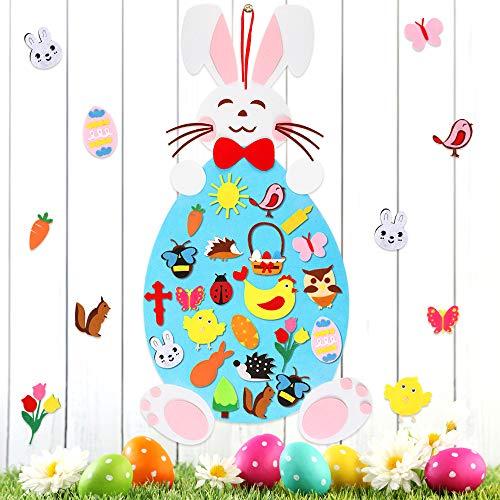 O-Kinee Artigianato del Coniglietto di Pasqua, Pasqua Fai da Te in Feltro Decorazione Coniglietto, Coniglietto di Pasqua in Feltro Bambini per Regali di Pasqua, Decorazioni Pasqua per Pareti di Porte