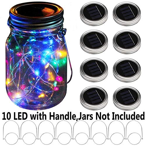 No-branded NDMCC 8pcs Waterproof LED String Light Solar Powered for Mason Jar Lid Hanging Garden Garland Decorations (Emitting Color : RGB)