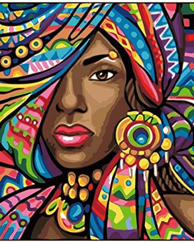 Malen Sie Nach Nummer Kit Bunte Turbanfrau Malen Nach Zahlen Für Erwachsene DIY Ölgemälde Kit Für Kinder Anfänger 40 x 50 cm