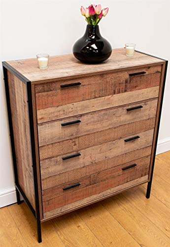 Timber Art Design Stretton Urban Schlafzimmer-Kommode mit 4 Schubladen, rustikale industrielle Eichenoptik