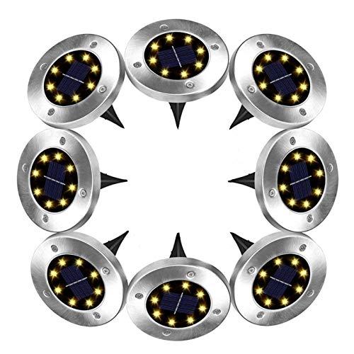 8 piezas Luces Solares para Exterior Jardin, 8/16/20LEDs Luces de Disco Impermeable Iluminación de Paisaje Al Aire Libre En El Suelo para Patio de Césped (Color : Warm White)
