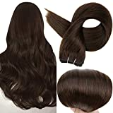Full Shine Hair Weft Bundles Sew in Extensions 22 Inch Real Remy Human Hair Double Weft Hair Extensions Silky Straight Hair Bundles Color 2 Darkest Brown Full Head Set Weft Bundles 100 Gram