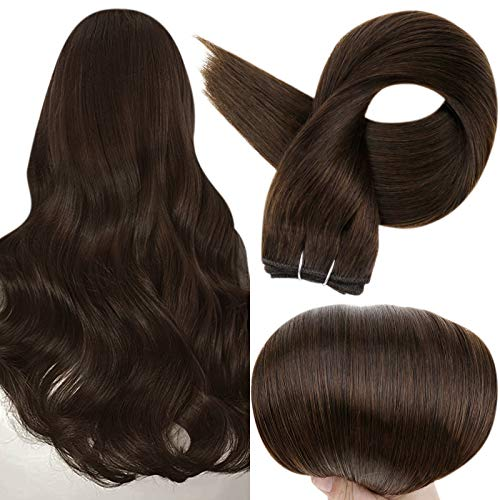 Full Shine Real Human Hair Wefts Extensions 16 Inch Double Weft Hair Weft Bundles Straight Sew In Wefts Color 2 Darkest Brown Full Head Set Remy Hair Weave Extensions 100 Grams Per Bundle