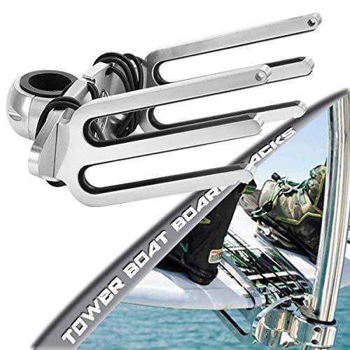 SCXLF Soporte de Wakeboard Torre con Angulo Ajustable Base, Soporte de Torre de Wakeboard de Aluminio Pulido, Soporte de Tabla de Wakeboard para Coche de Barco Torre