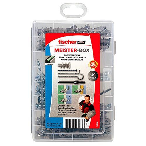 Fischer Meister Box Scatola con tasselli per cartongesso + viti + ganci, contenuto: 50 pezzi, 1...