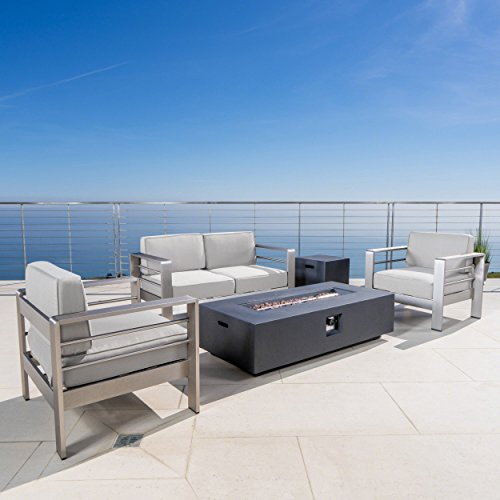 Christopher Knight Home Cape Coral Outdoor Aluminum Chat Set with Canvas Sunbrella Cushions and Fire Pit (Optional Sunbrella Cushions), 5-Pcs Set, Cast Silver Sunbrella / Silver / Dark Grey