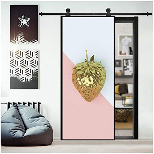 Cartoon Design Fruit Aardbei Creatieve Deur Sticker 3D Home Decoratie Woonkamer Slaapkamer Kledingkast Koelkast Verwijderbare PVC Vinyl Mural 77x200cm