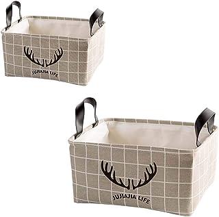 MADHEHAO Boîte de Rangement Pliable de 2 pièces, Panier de Rangement en Tissu avec poignées en PU pour étagères, vêtements...