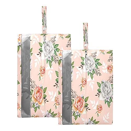 F17 - Bolsas de viaje para zapatos de flores de rosa, bolsa de almacenamiento, impermeable, portátil, ligera, bolsa de almacenamiento para hombres y mujeres, 2 unidades