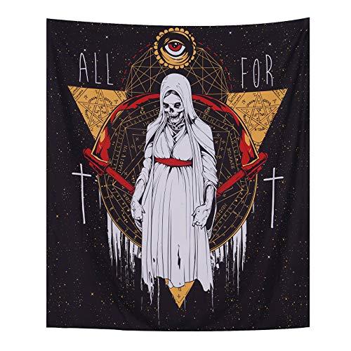 Wandteppich mit Totenkopf-Motiv, Satanismus, Zeichensymbol, Kreis, Teufel, Böser Blick, Astrologie, Wandbehang, Gotik-Stil, Decke für Zimmer