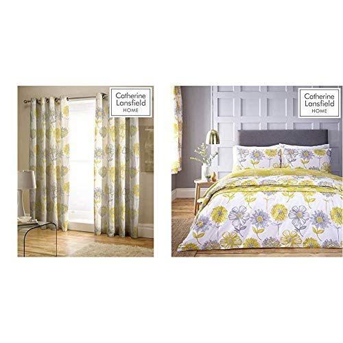 Catherine Lansfield Banbury Floral Easy Care Eyelet Curtains Yellow, 66x72 Inch & Lansfield Banbury Floral Easy Care King Duvet Set Yellow