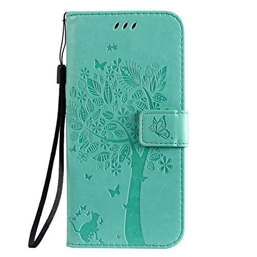 Draamvol Samsung Galaxy A51 Hülle für Samsung Galaxy A51 Handyhülle, Flip Wallet Soft PU Leder Notebook Baum geprägt mit Kickstand Kartenhalter Slot Protective Skin Cover, Grün