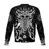 HQLCX Sudaderas con Capucha del Tatuaje de Viking Odin, Sudadera Impresa en 3D Harajuku Unisex Chaqueta Informal Jersey,Sweatershirt,5XL