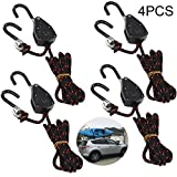 Acronde 4PCS 1/8' 6Ft Adjustable Heavy Duty Rope Hanger Ratchet Kayak and Canoe Bow and Stern Tie Downs Straps (6)