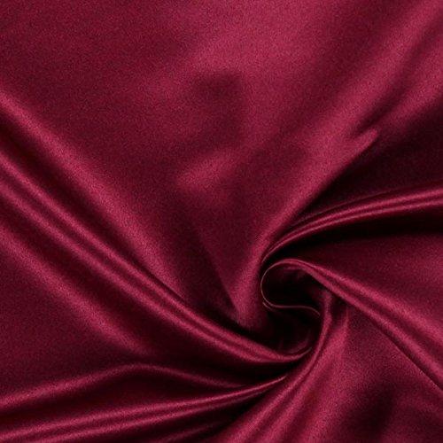 Fabulous Fabrics Satin bordeauxrot, Uni, 148cm breit – Satin zum Nähen von Abendkleidung, Karnevalskostümen und Röcken – Meterware erhältlich ab 0,5 m