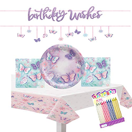 Butterfly Flutter Party Supplies Pack Serves 16: Table...
