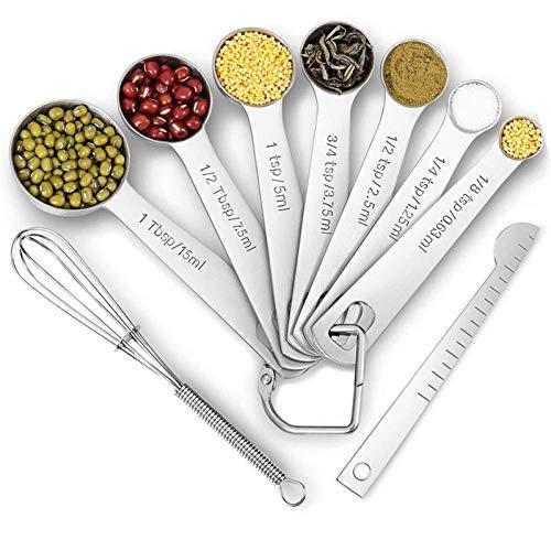 9 stks/set Maatlepels Scoop Rvs Maatbeker Keukenweegschaal Beker Koken Theelepels Suiker Meetinstrumenten Set