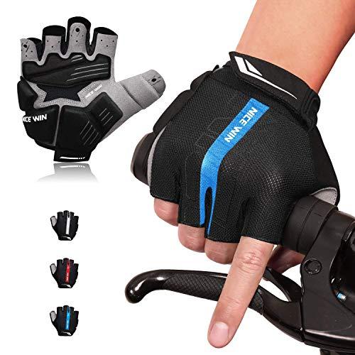 LOHOTEK Guantes de Bicicleta Acolchados SBR de 6 mm de Montaña para Hombres Mujeres Jóvenes Guantes MTB con Acolchado Amortiguador Malla Respirable para Deportes al Aire Libre de Ciclismo (Azul, M)