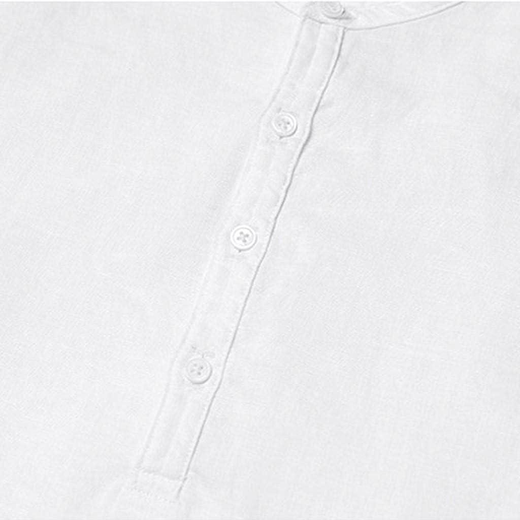 KEEYO Mens Cotton Linen Shirts Henley V-Neck Short Sleeve Hippie Beach Yoga Shirts Summer Banded Collar Plain Tee Tops