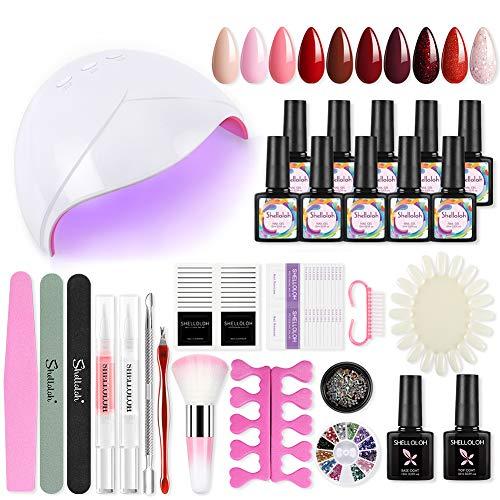 Kit de esmalte de uñas semipermanente de 36 W, lámpara UV/LED de gel UV, 10 colores