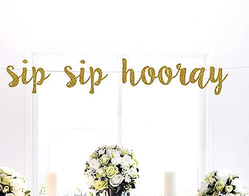 Astra Gourmet Sip sip Hooray Gold Glitter Banner | Bridal Shower | Glitter Party Decorations | Photo propd | Wedding Celebrate Birthday Holiday Baby Shower Party Decorations